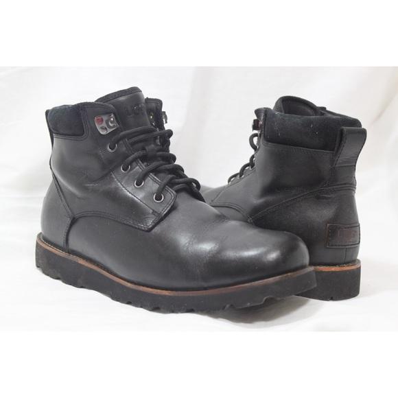 3838b004767 Ugg Seton TL Men's Black Leather Waterproof Boots